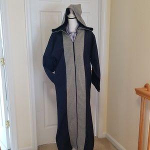 Moroccan Denim Blue Gray Abaya Hooded Dress S M